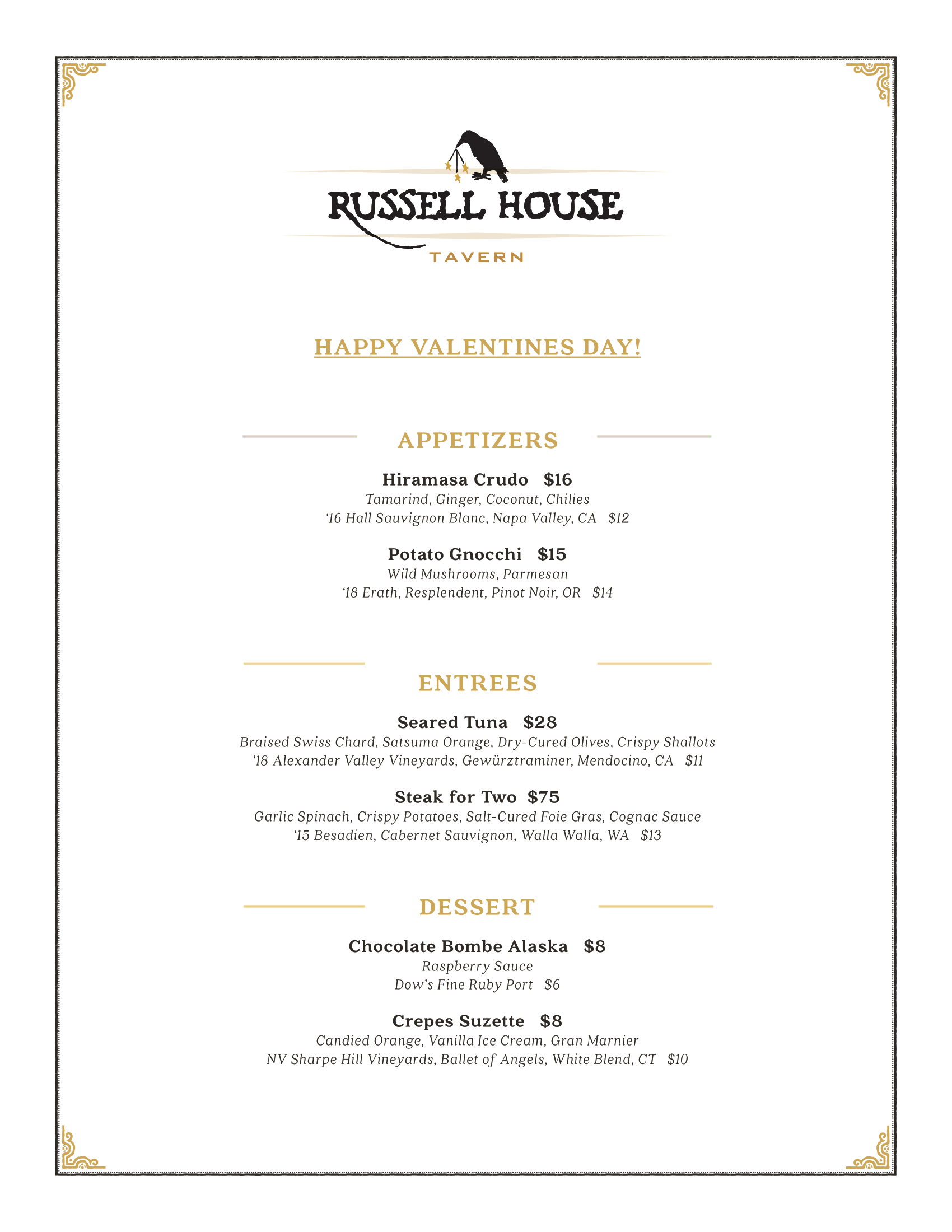 Russell Valentine's Menu