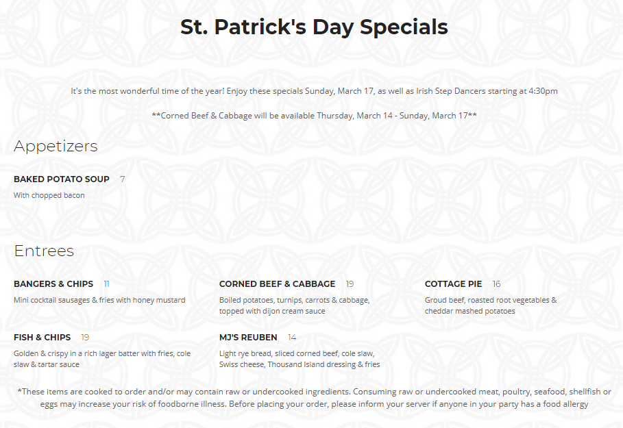 St. Patricks Menu