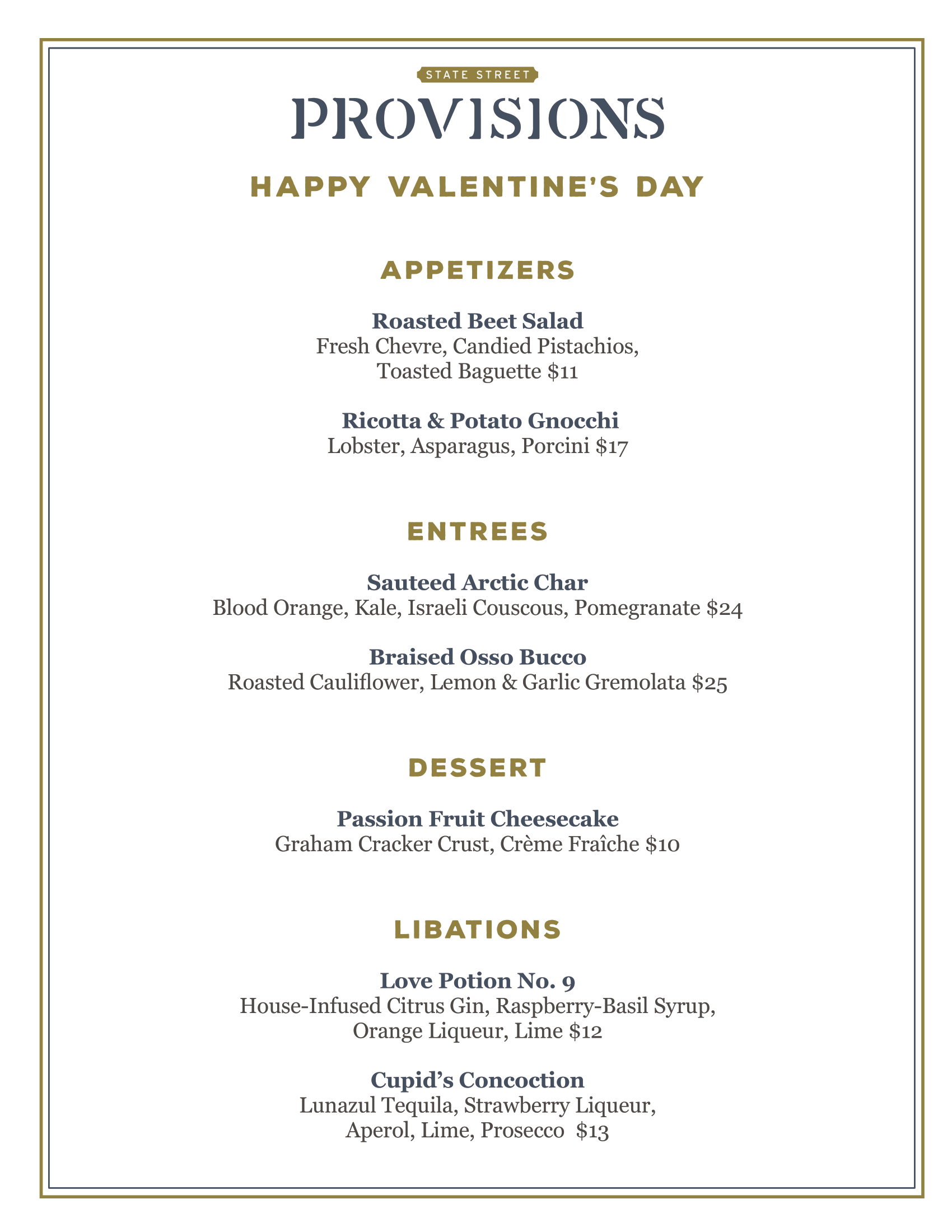 State street provisions valentine's menu